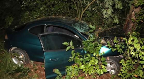 Pijany kierowca wjechał w drzewo