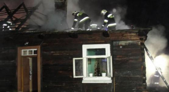 Pożar domu w Rudzie, PSP Staszów (1)